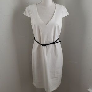 NWT United Colors of Benetton White Belted Dress M